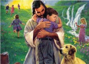jesus holding a child